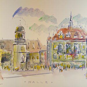 Aquarell von Halle (Saale): historische Ansicht vom Marktplatz