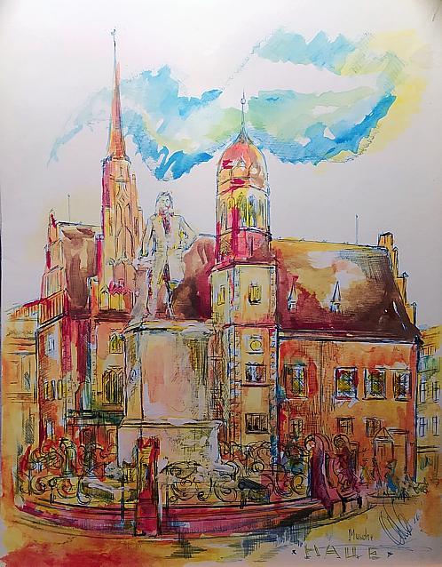 Aquarell von Halle (Saale): historische Ansicht vom Marktplatz - Händel-Denkmal & Altes Rathaus
