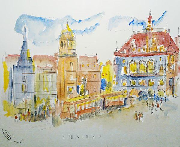 Aquarell von Halle (Saale): historische Ansicht vom Marktplatz (350 x 280 cm)