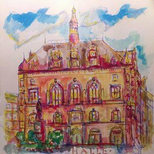 Aquarell von Halle (Saale): historische Ansicht vom Stadthaus am Markt