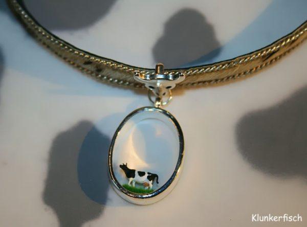 Halsband aus Leder mit Kuhfell *Ovale Kuh*