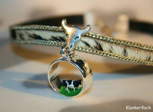 Halsband aus Leder mit Kuhfell *Runde Kuh*
