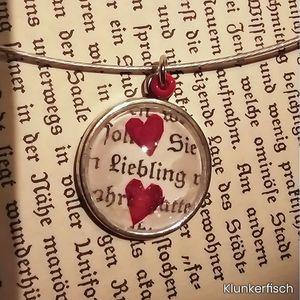 Halsreif *Liebling* - Medaillon mit Liebesbrief und Rosen-Herzen