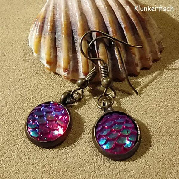 Bronze-Ohrringe mit Fisch-Schuppen in Rot-Violett