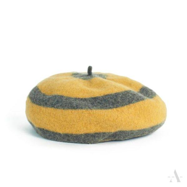 Geringelte Baskenmütze in Grau und Gelb