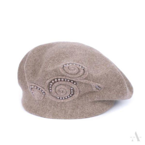 Angora-Baskenmütze mit Perlen-Ornament in Beige
