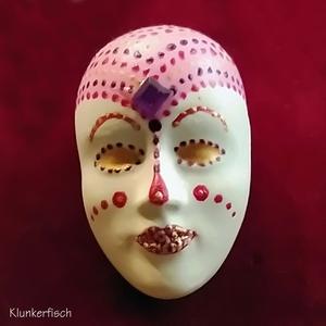 Masken-Brosche *Pink Harlekin*