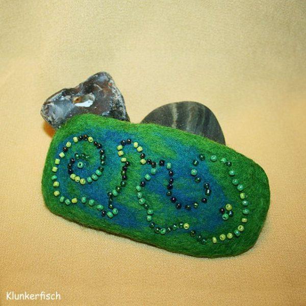 Filz-Haarspange *Grüne Kobra*