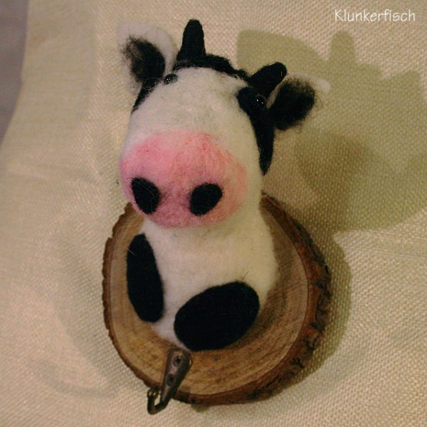 Wandhaken mit Filz-Tier *Kuh*