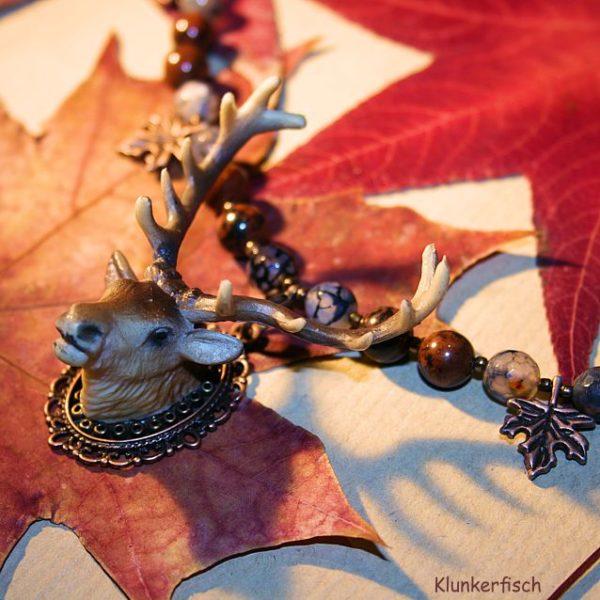Herbstliches Collier *Brauner Hirsch* mit Jaspis und Drachen-Achat