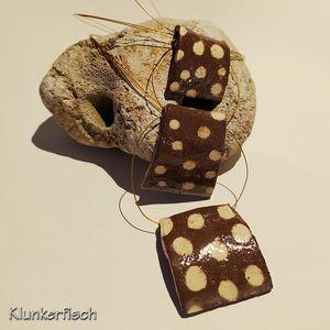 Herbstliche Halskette mit dreiteiligem Keramikanhänger