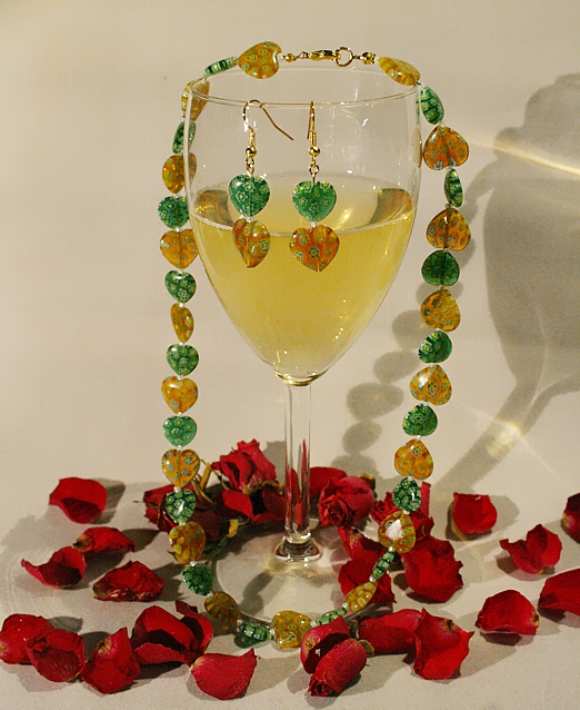 Millefiori-Halskette in Gelb und Grün