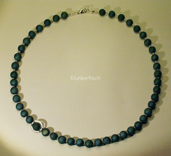 Wie das Meer! - Halskette aus blau-grünem Drusen-Achat
