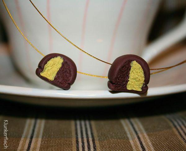 Hallorenkugel-Halskette *Schoko-Eierlikör* an Gold