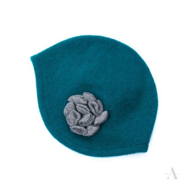 20er Jahre - Mütze aus Wollfilz mit Blüten-Applikation in Petrol