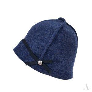Sportliche Mütze aus Wollfilz mit Ziernähten und Knopf in Blau