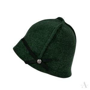 Sportliche Mütze aus Wollfilz mit Ziernähten und Knopf in Grün