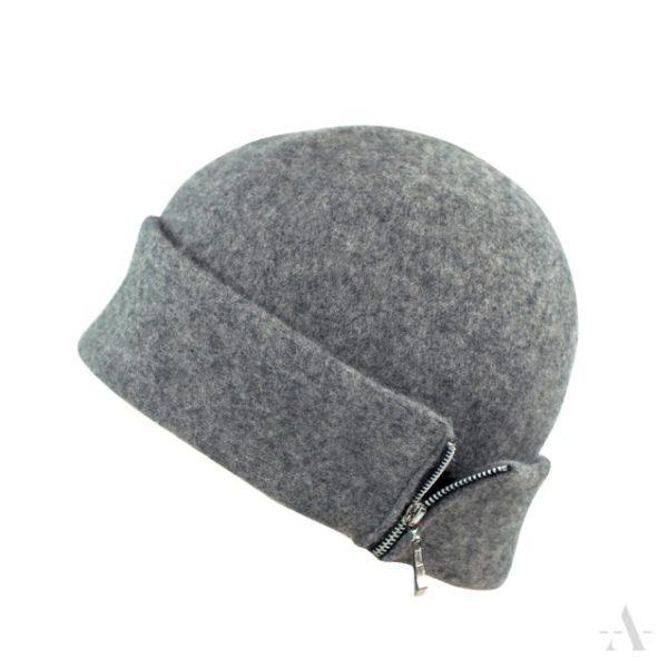 Sportliche Mütze aus Wollfilz mit Reißverschluss in Grau