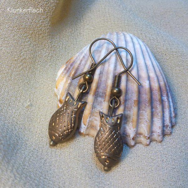 Bronze-Ohrringe *Fisch in Braun*