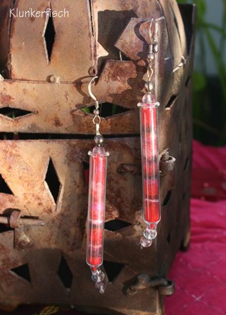 Bollywood-Ohrringe *Arunima* aus Glas in Rot