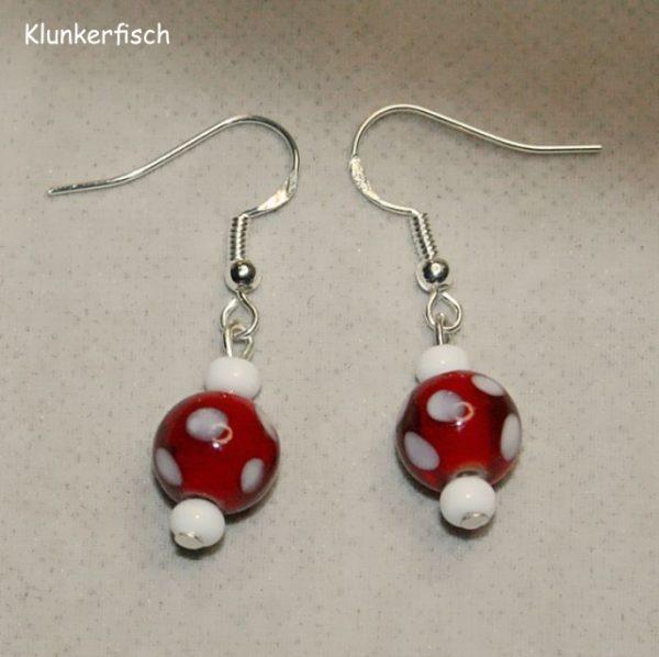 Ohrringe *Rot mit weißen Punkten*