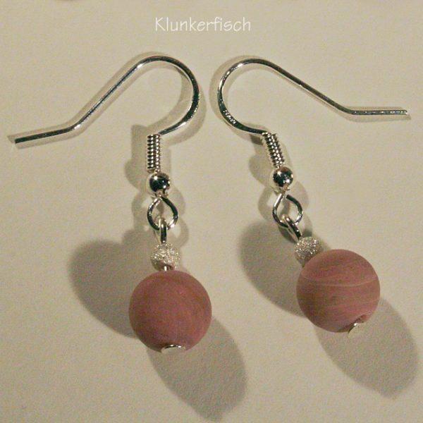 Ohrringe aus Rhodochrosit und Silber