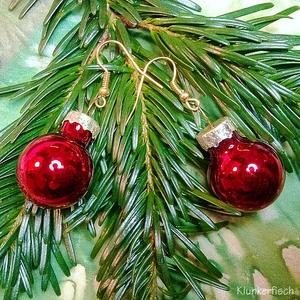 Ohrringe mit Weihnachtsbaum-Kugeln in Metallic Rot