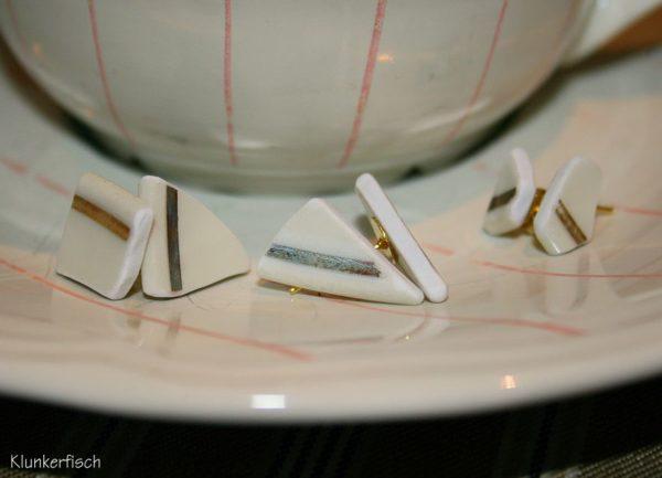 Ohrstecker mit weiß-goldenen Porzellan-Scherben