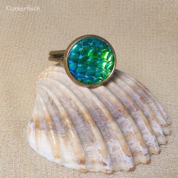 Ring *Fisch-Schuppen* in Blau-Grün