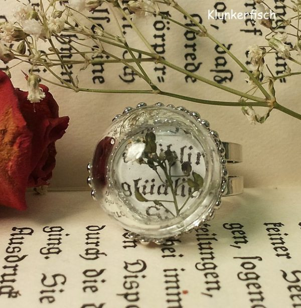 Kleiner Elfen-Ring *Frühling - glücklich* mit Hirtentäschel