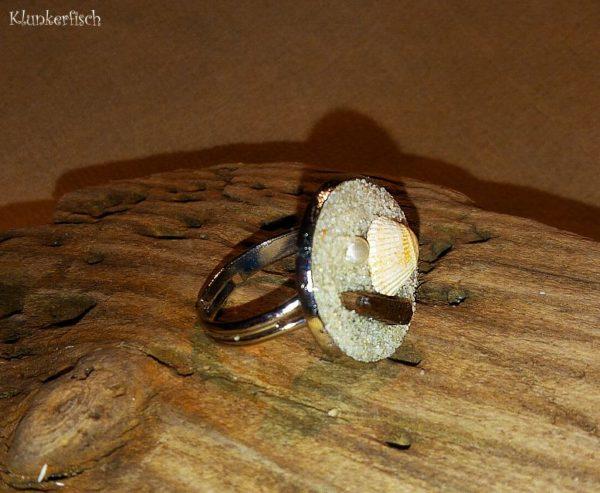 Strandgut-Ring mit Perle