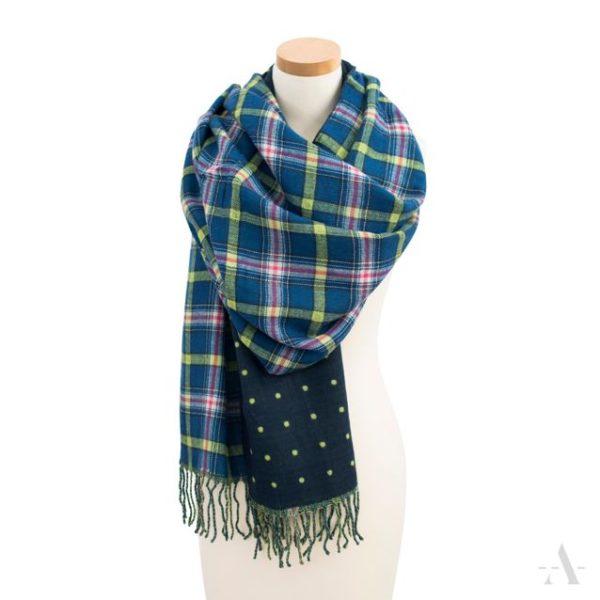 Doppelt gewebter Schal mit Karo- und Punkte-Muster