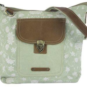Große Tasche aus hellgrünem Canvas mit Leder-Applikationen *Flora*
