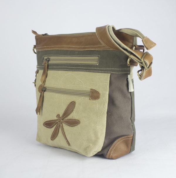 Große Schultertasche aus Canvas mit Leder-Applikationen *Libelle*