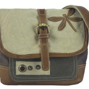 Kleine Messenger-Tasche aus Canvas mit Leder-Applikationen *Libelle*