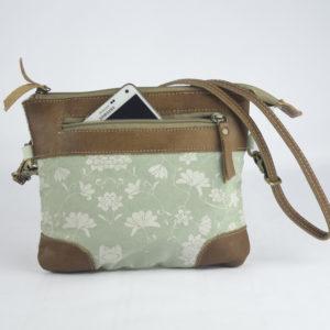 Kleine Tasche aus hellgrünem Canvas mit Leder-Applikationen *Flora*