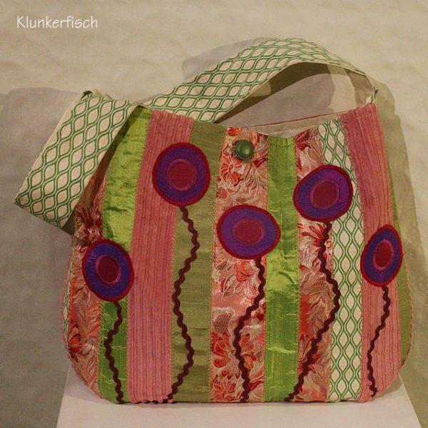 Fröhlich bunte Schultertasche in Rosa und Grün - Unikat!