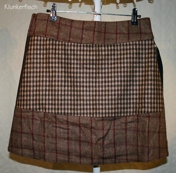 Tweed-Wickelrock in Braun und Rost mit abnehmbarer Tasche