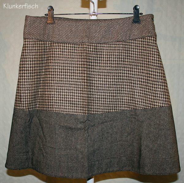 Tweed-Wickelrock in Braun gemustert