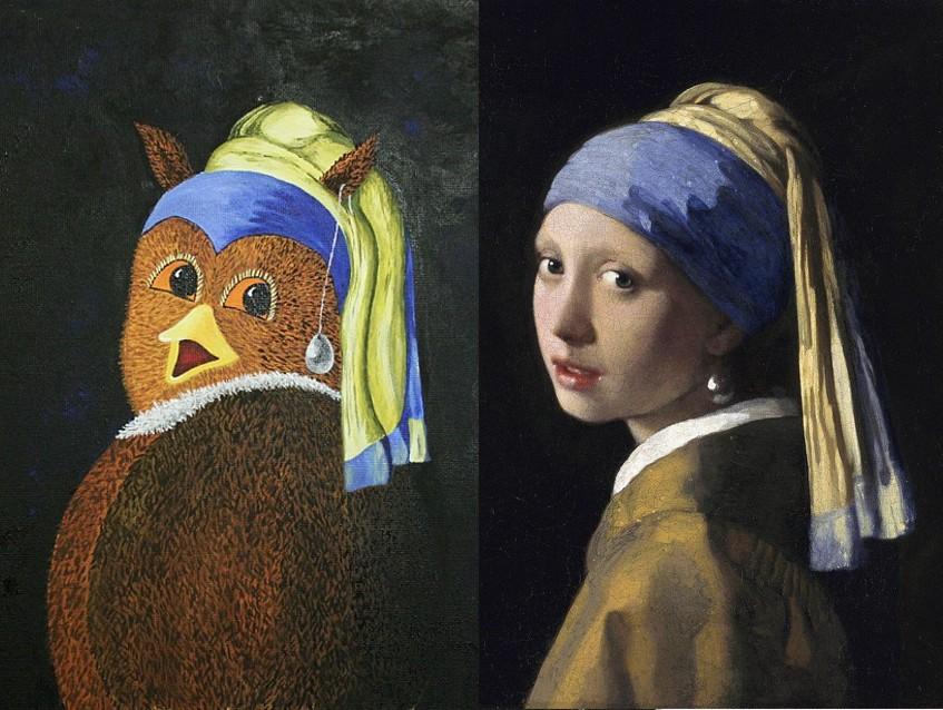 Die Eule mit dem Perlenohrring / Das Mädchen mit dem Perlenohrgehänge