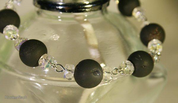 Glitzerndes Armband aus Drusen-Achat und Strass