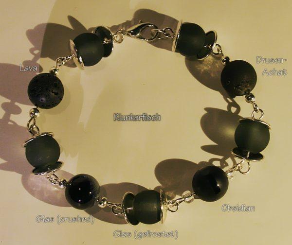 Modul-Armband aus Schmuckstein- und Glas-Perlen