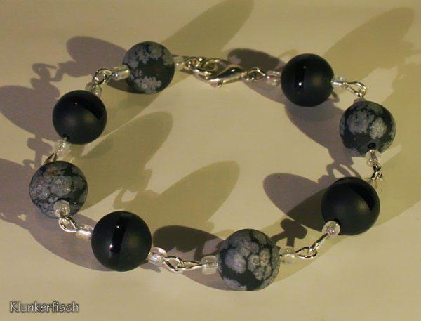 Edles Modul-Armband aus Obsidian