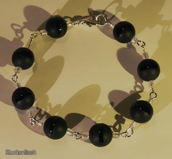 Elegantes Modul-Armband aus schwarzem Obsidian