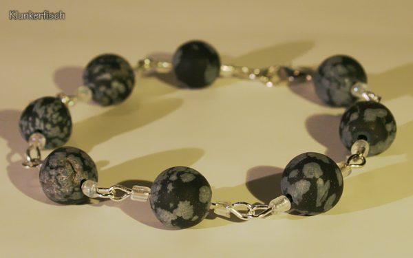 Feines Modul-Armband aus Schneeflocken-Obsidian