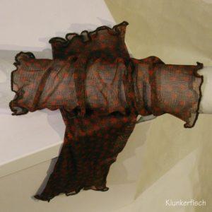 Handstulpen aus Seide in Braun mit rostroten Punkten
