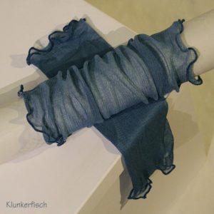 Handstulpen aus Seide in Taubenblau