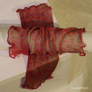 Handstulpen aus Seide in Weinrot mit Tupfen