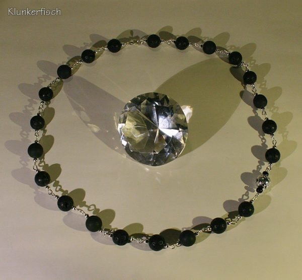 Aparte Modul-Kette aus Lava- und Drusen-Achat-Perlen