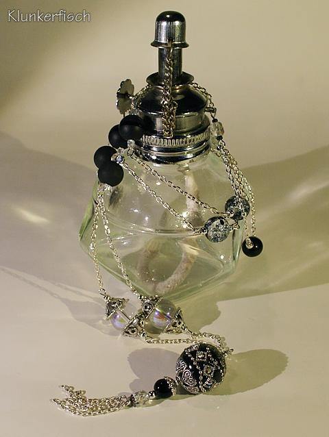 Modul-Kette aus Glas- und Schmuckstein-Perlen mit Quasten-Anhänger